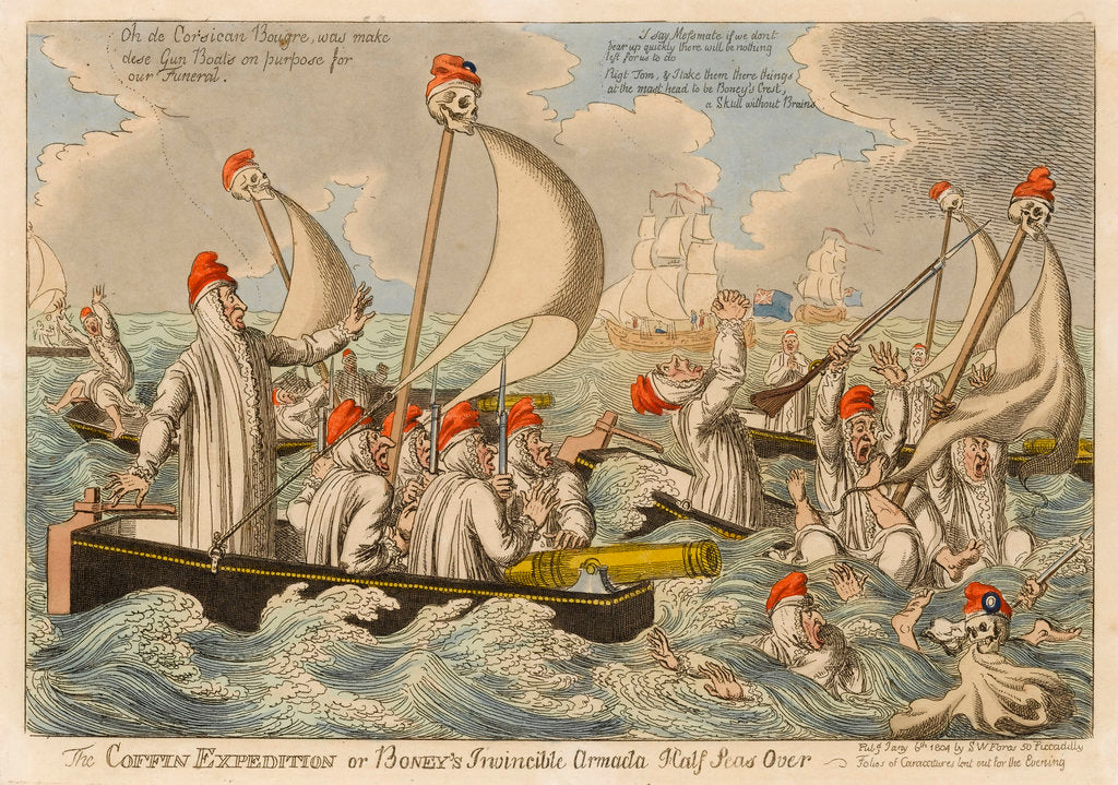 Detail of The Coffin Expedition or Boney's Invincible Armada Half Seas Over by S.W. Fores