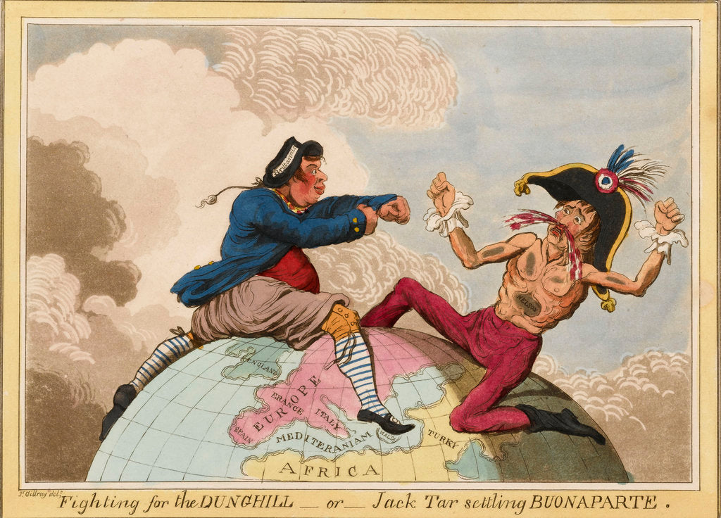Detail of Fighting for the Dunghill, or, Jack Tar Setting Buonaparte by James Gillray