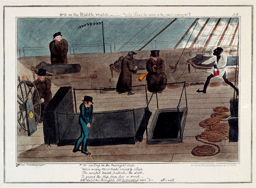 Detail of Midshipman Blockhead, Mr B on the Middle Watch, cold blows the wind & the rains coming on by George Cruikshank