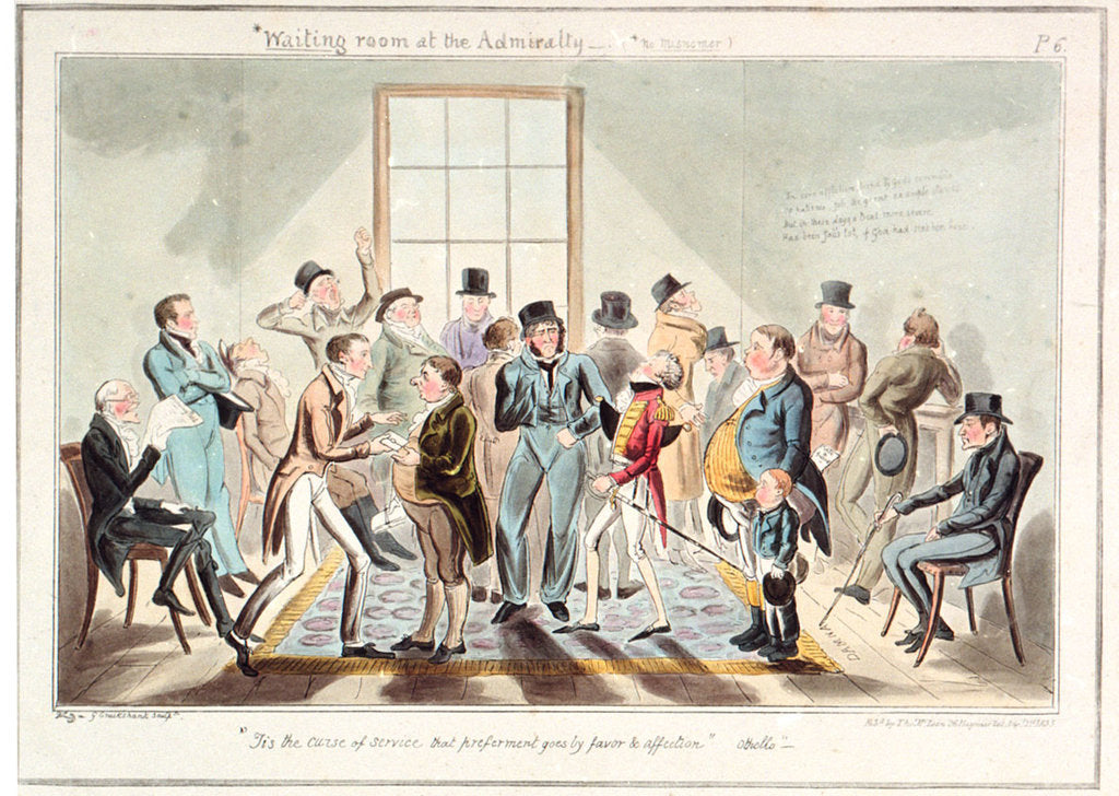 Detail of Midshipman Blockhead, waiting room at the Admiralty by George Cruikshank