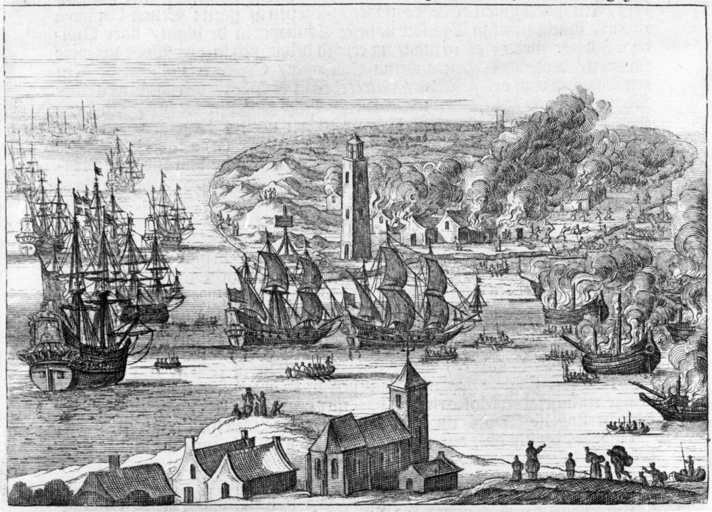 Detail of Destruction of the islands of Vlie and Schelling, 1666 by M. Willemsz