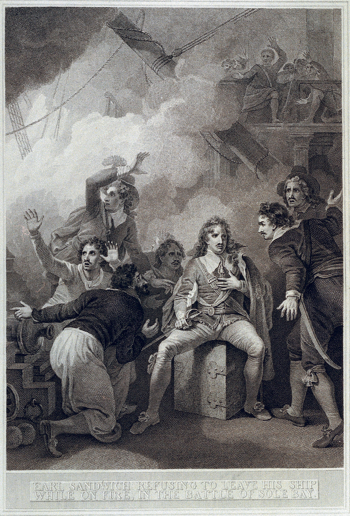 Detail of Earl of Sandwich refusing to leave his ship while on fire in the Battle of Solebay, 28 May 1672 by Robert Smirke
