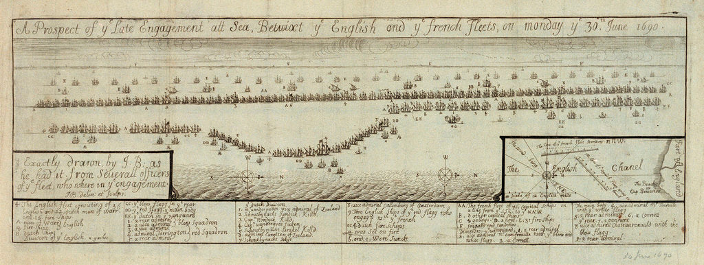 Detail of The English and Dutch fleet under Torrington & Evartsen defeated By the French under de Tourville at Beachy Head, 30 June 1690 by James Basire