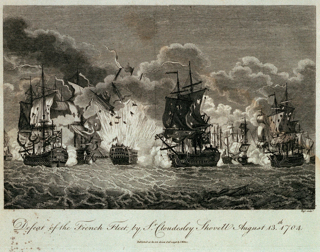 Detail of Defeat of the French fleet by Sr Cloudesley Shovell, 13 August 1704 by Pass