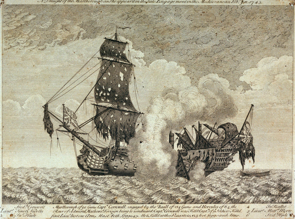 Detail of The 'Marlborough' in the Mediterannean, 11 February 1743 by unknown