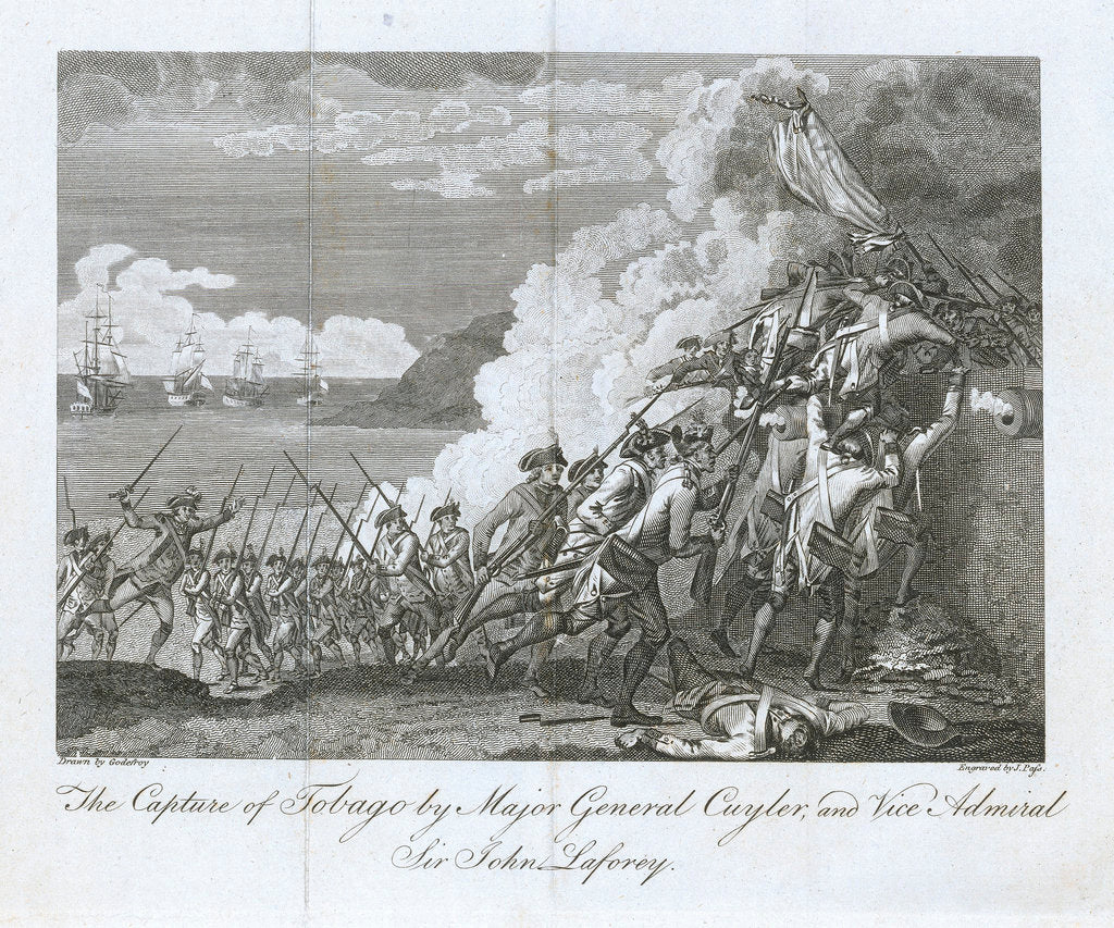 Detail of The capture of Tobago by Major General Cuyler, and Vice Admiral Sir John Laforey by Godefroy