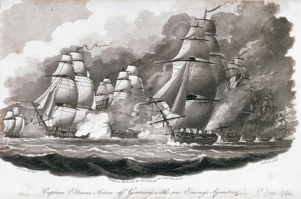 Detail of Captain Ellisons action off Guernsey with an enemy's squadron by John Theophilus Lee
