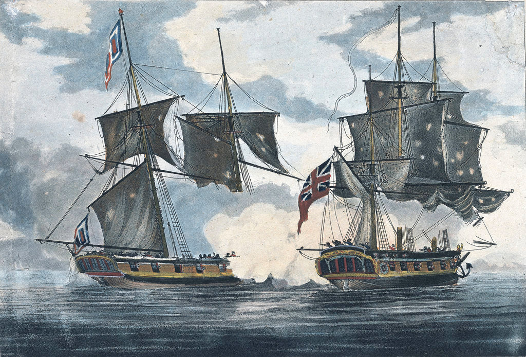 Detail of The 'Antilope Packet' beating off 'Le Atalante' a French privateer in the West Indies by William Elmes