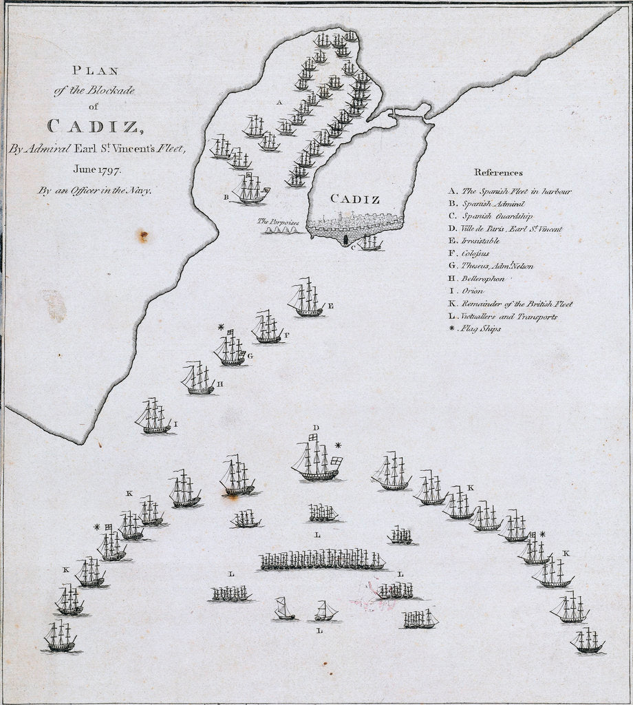Detail of Plan of the blockade of Cadiz, June 1797 by unknown