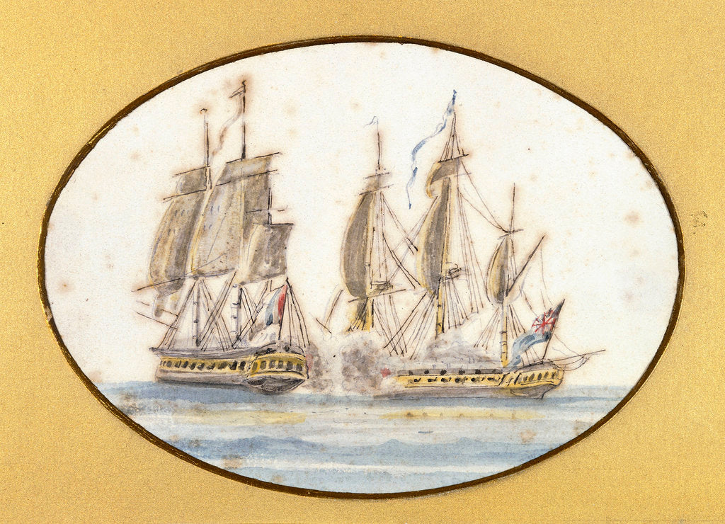 Detail of Capture of 'La Sensible' by the frigate 'by the Sea Horse', 27 June 1798 by R. W.