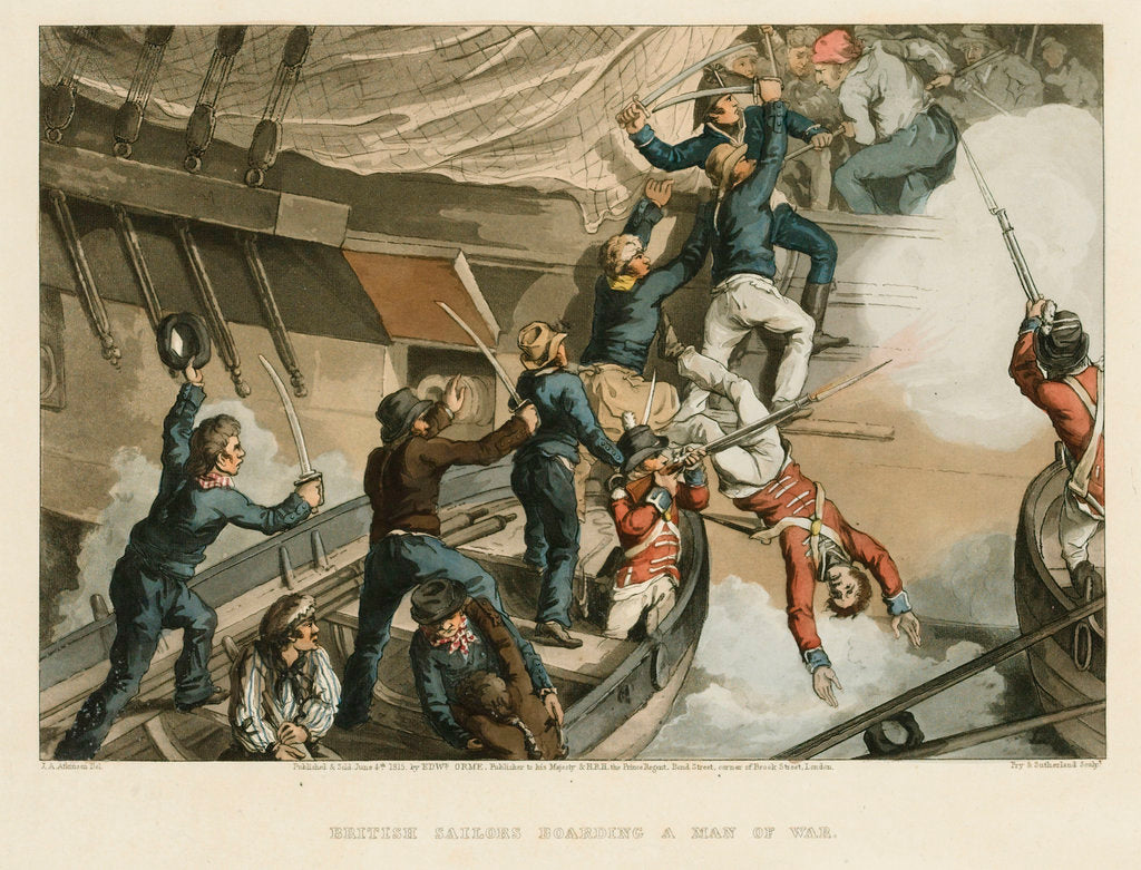 Detail of British sailors boarding a man-of-war by John Augustus Atkinson