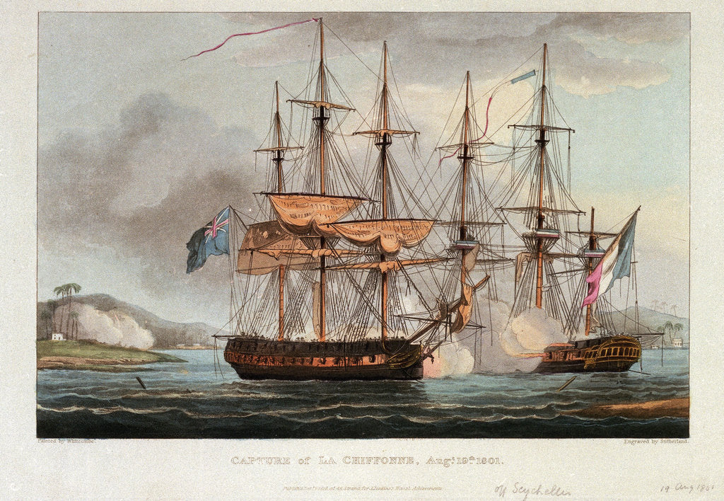 Detail of Capture of 'La Chiffonne', 19 August 1801 by Thomas Whitcombe