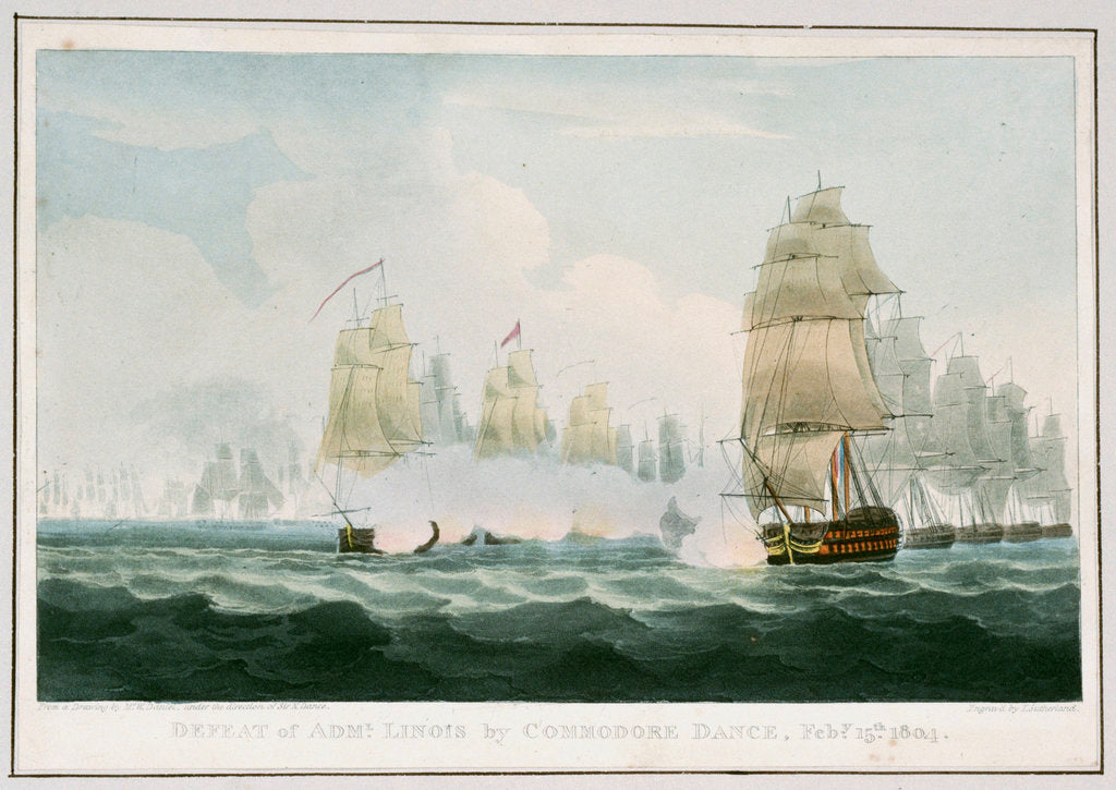 Detail of Defeat of Admiral Linois by Commodore Dance, 15 February 1804 by William Daniel