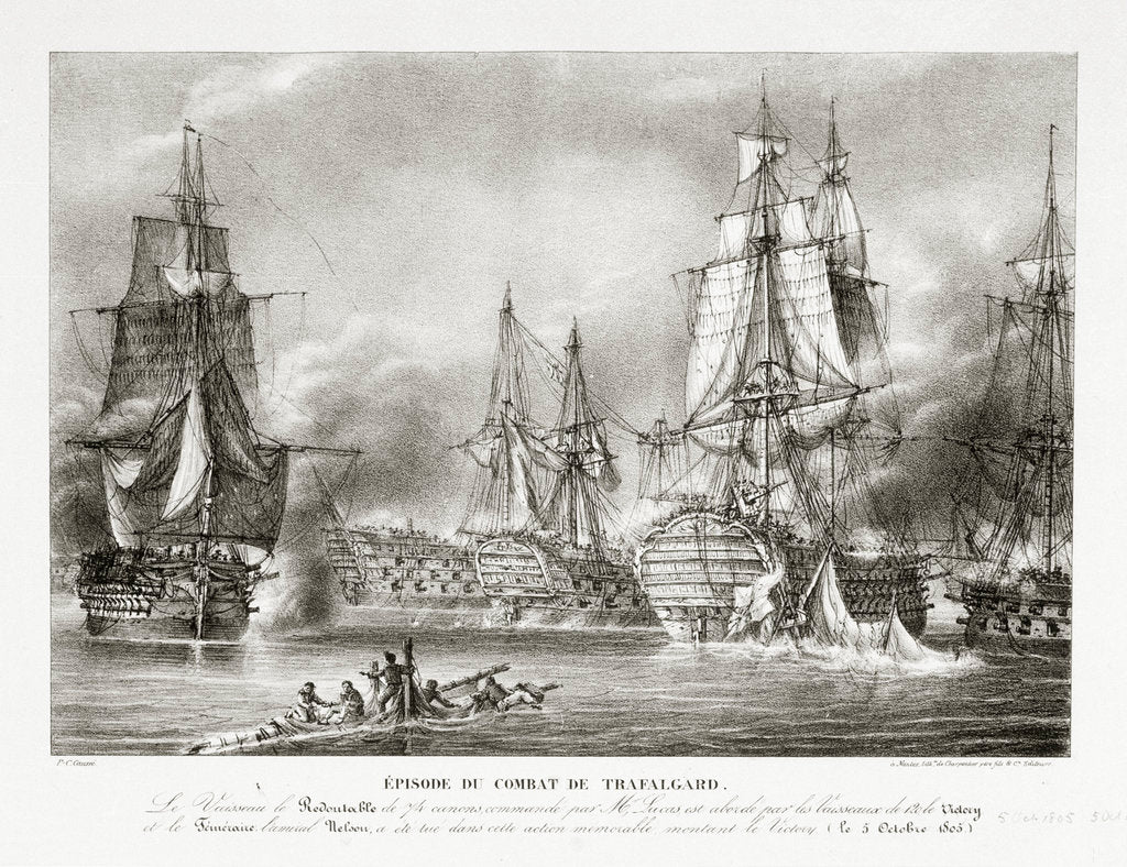 Detail of The Battle of Trafalgar, 21 October 1805 by P.C. Causse