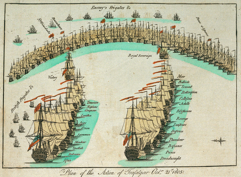 Detail of Plan of the action at the Battle of Trafalgar, 21 October 1805 by unknown