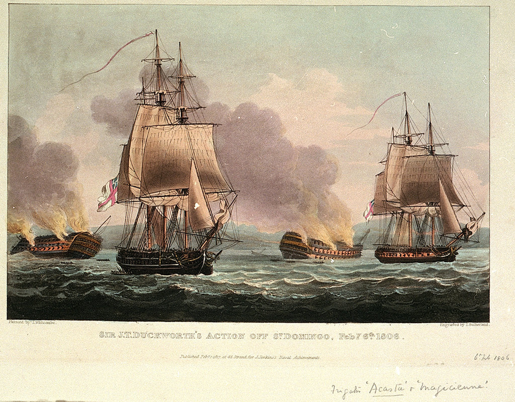 Detail of Sir J. T. Duckworth's Action off St. Domingo, 6 February 1806 by Thomas Whitcombe