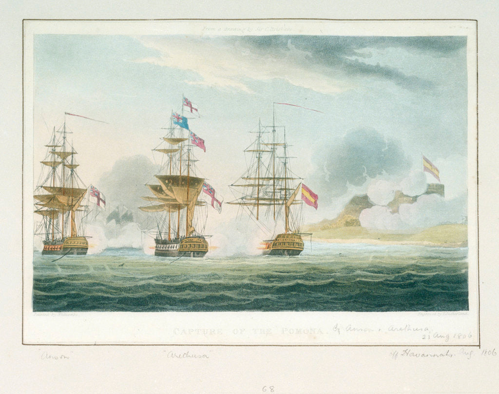 Detail of Capture of the 'Pomona' by Anson & Arethusa off Havannah, 23 August 1806 by Thomas Whitcombe