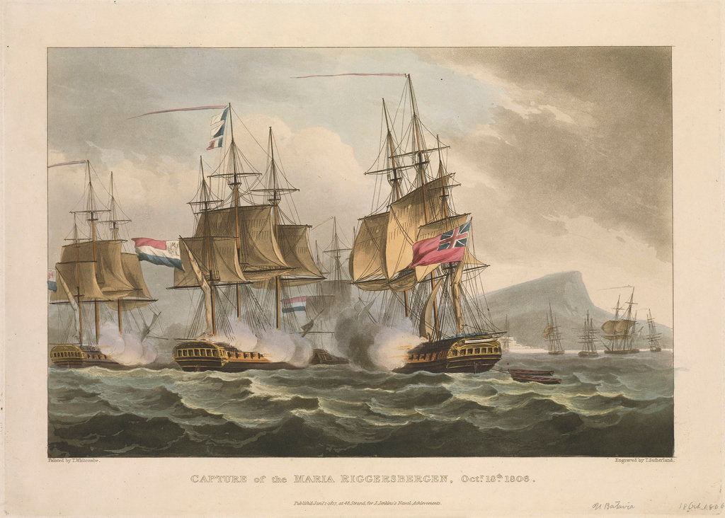 Detail of Capture of the 'Maria Riggersbergen', 18 October 1806 by Thomas Whitcombe