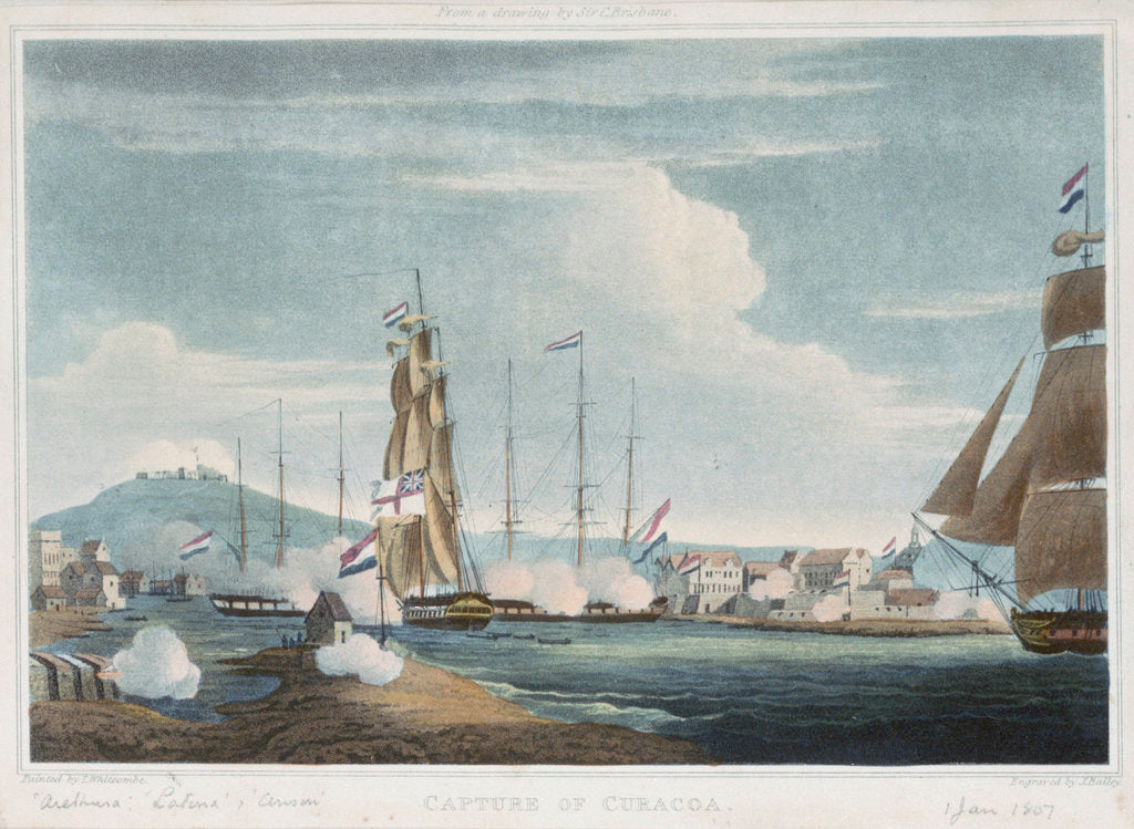 Detail of The capture of Curacao, 1807 by Thomas Whitcombe