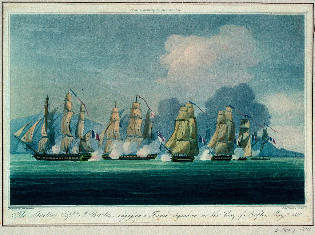 Detail of The 'Spartan' engaging a French squadron in the Bay of Naples, 3 May 1810 by Jahleel Brenton