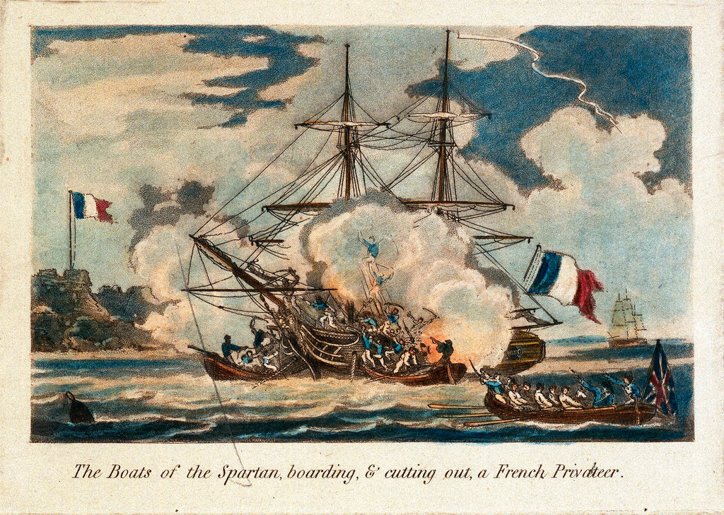 Detail of The boats of the 'Spartan' boarding & cutting out a French privateer by unknown