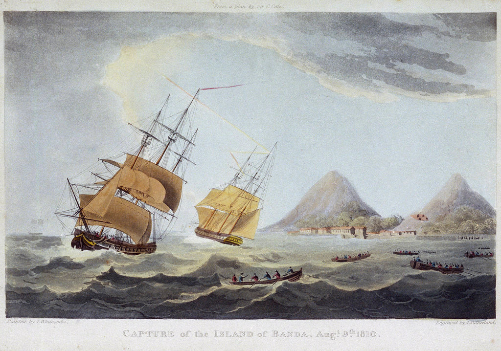 Detail of Capture of the Island of Banda, 9 August 1810 by Thomas Whitcombe