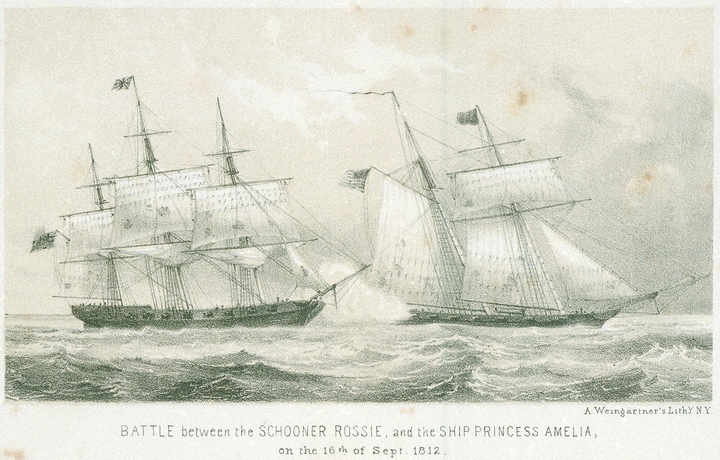 Detail of Battle between the schooner 'Rossie' and the 'Princess Amelia', 16 September 1812 by A. Weingartner