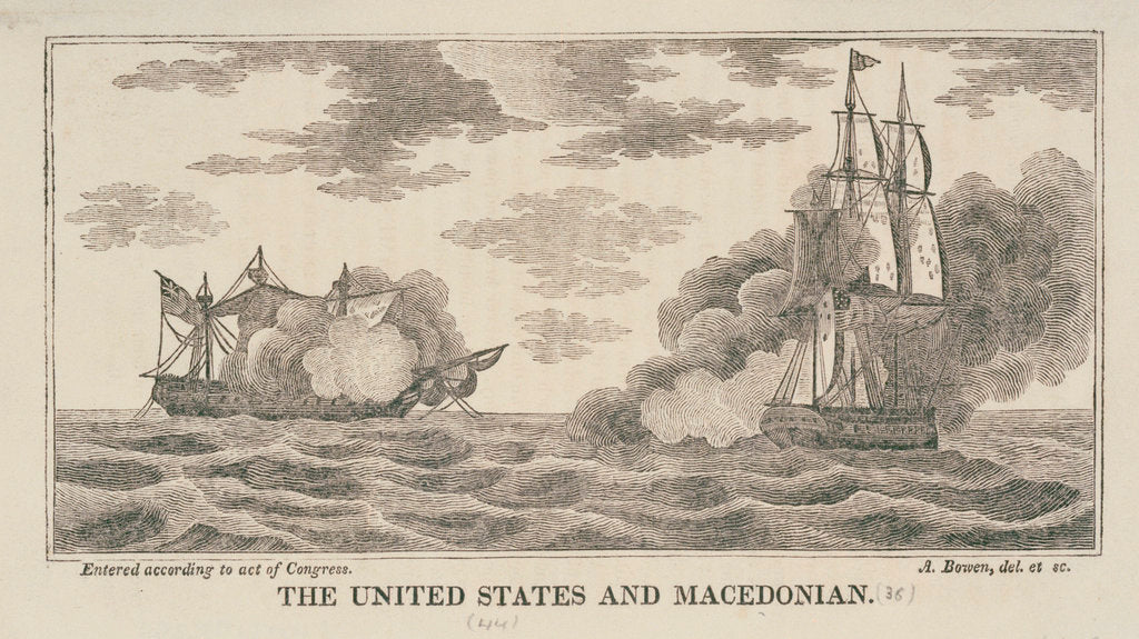 Detail of The 'United States' and 'Macedonian' in action, 1812 by Abel Bowen