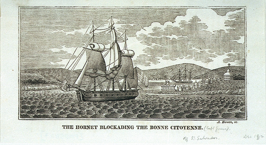 Detail of The 'Hornet' blockading the 'Bonne Citoyenne' off St Salvador, 1812 by Abel Bowen