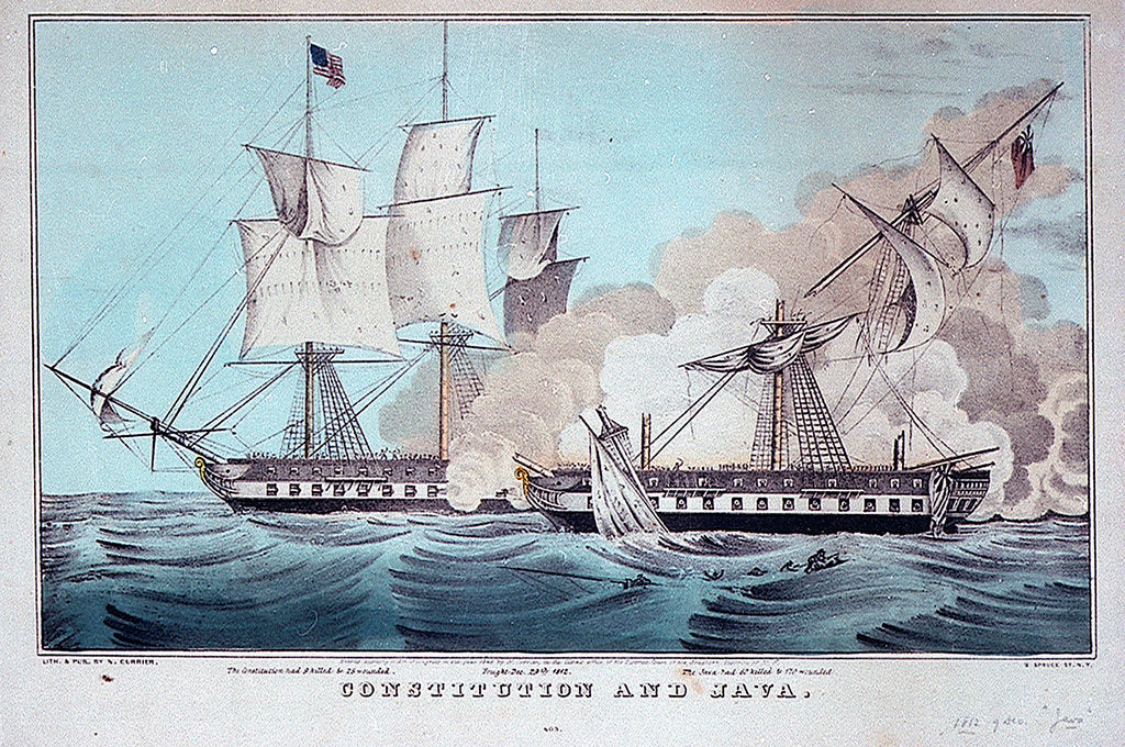 Detail of Battle between the 'Constitution' and 'Java', 29 December 1812 by N. Currier