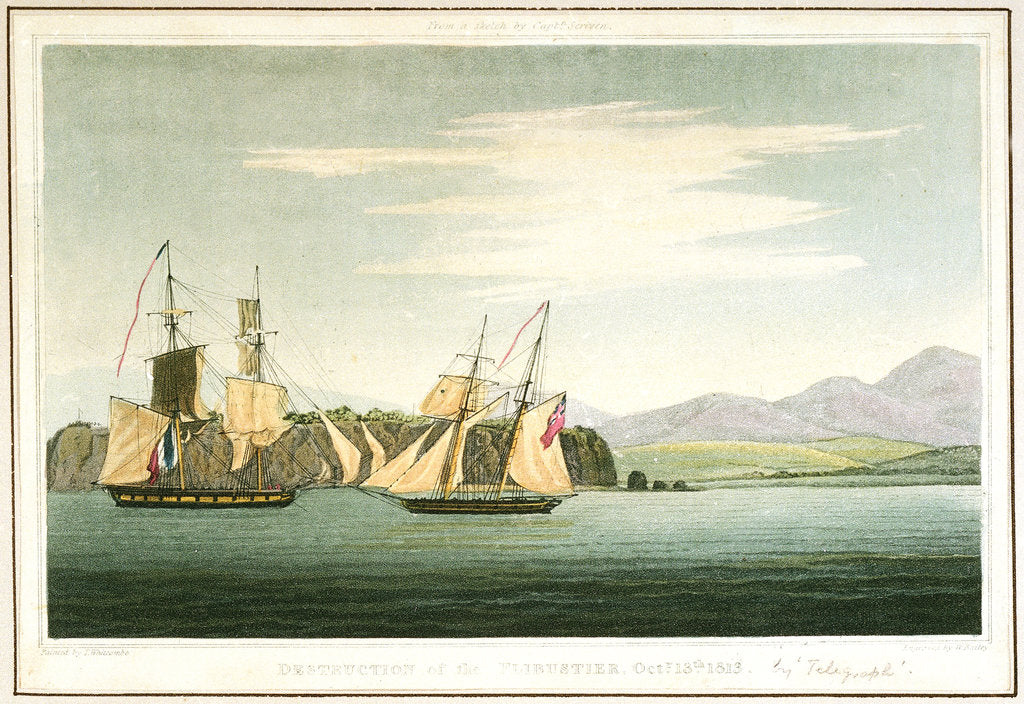 Destruction of the 'Flibustier', 13 October 1813 by Thomas Whitcombe