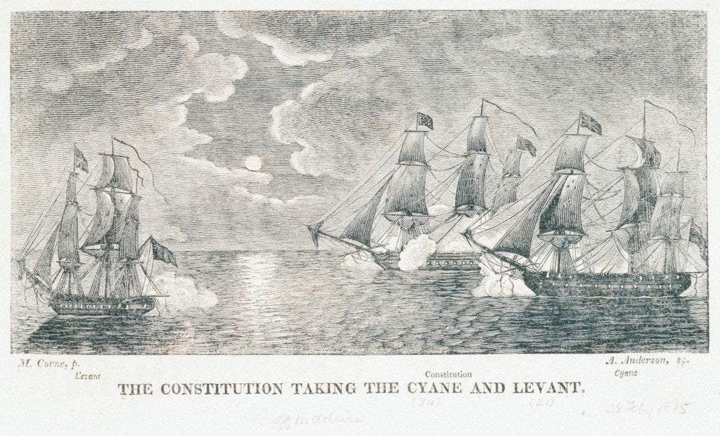 Detail of The 'Constitution' taking the 'Cyane' and 'Levant' by Michaele Felice Corne