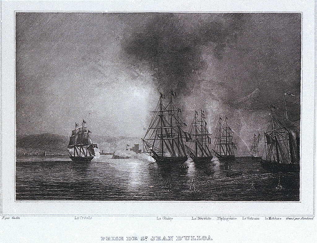 Detail of French squadron under De Joinville bombards St Juan de Ulloa in Mexico, 27 November 1838 by Gudin