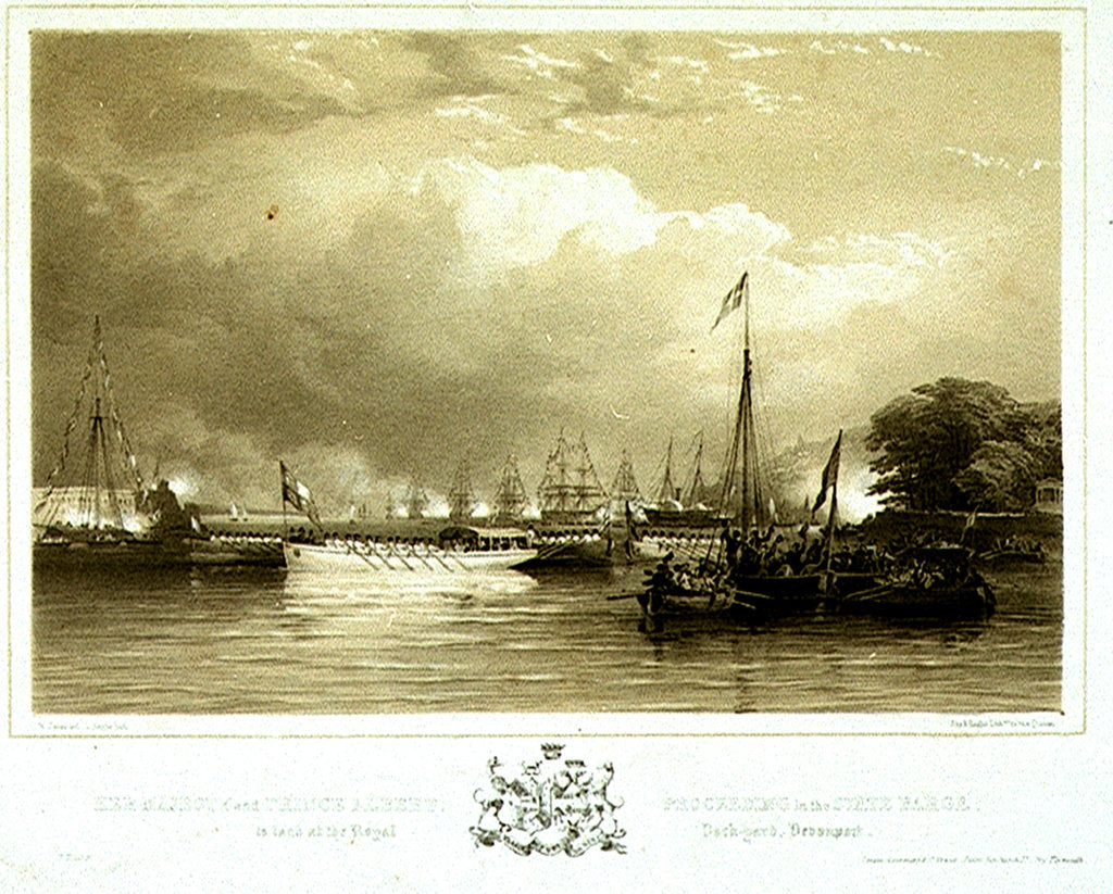Detail of Her Majesty and Prince Albert, Proceeding in the State Barge, to land at the Royal Dock-Yard, Devonport by Nicholas Condy
