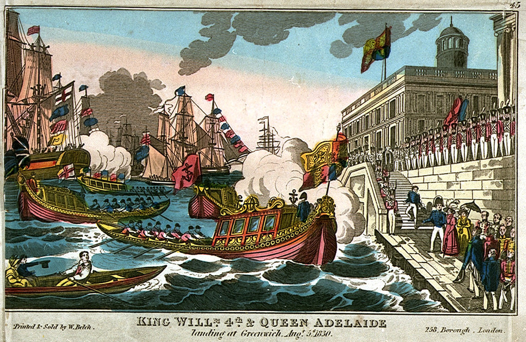 Detail of King Willm 4th & Queen Adelaide landing at Greenwich, Augt. 5th 1830 by W. Belch