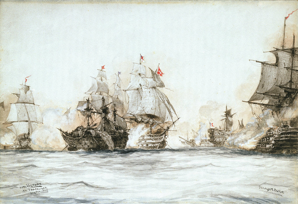 Detail of HMS 'Victory' at Trafalgar, 21 October 1805 by Gerald M. Burn