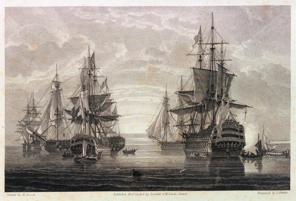 Detail of HMS 'Victory', 'Captain', 'Agamemnon', 'Vanguard' & 'Elephant' by Nicholas Pocock