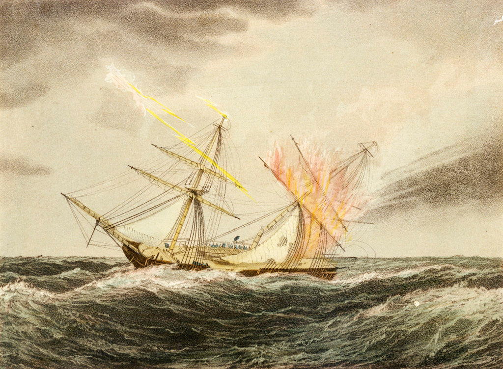 Detail of HMS 'Thisbe' on fire by lightning, 4 January 1786 by Nicholas Matthew Condy