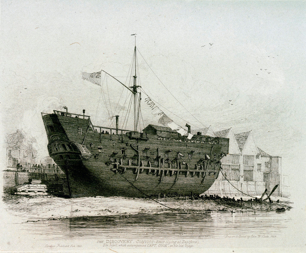 Detail of The 'Discovery' convict ship (lying at Deptford), the vessel which accompanied Captain Cook on his last voyage by Edward William Cooke