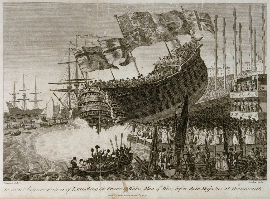 Detail of An exact Representation of Launching the Prince of Wales Man of War, before their Majesties, at Portsmouth' by Joshua Cristall