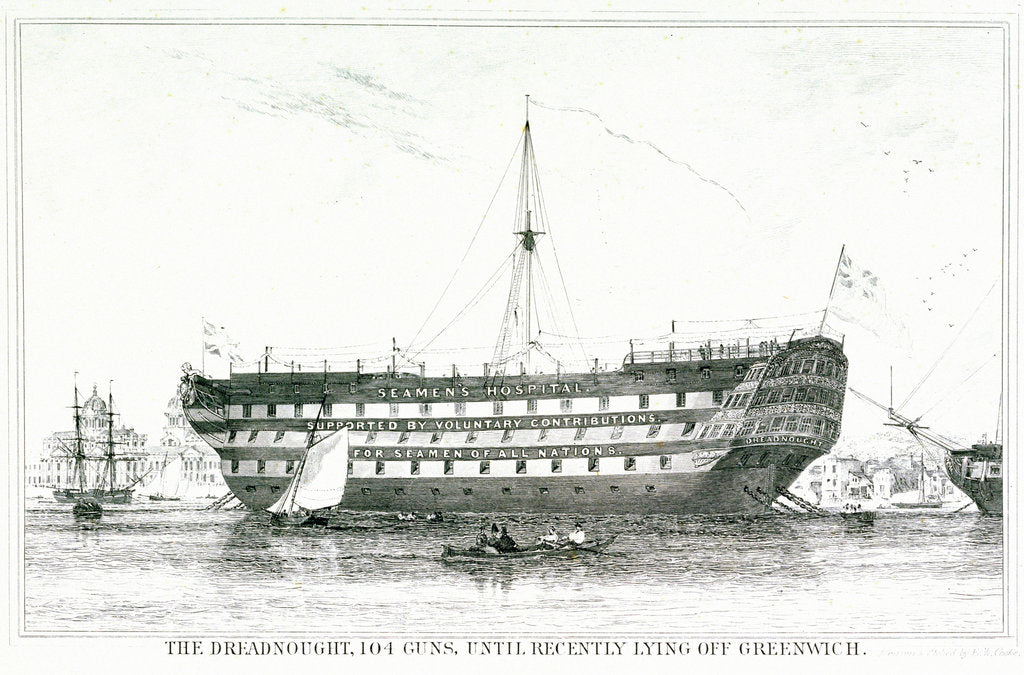Detail of The Dreadnought, 104 guns, until recently lying off Greenwich by Edward William Cooke