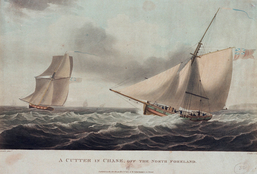 Detail of A cutter in chase, off the North Foreland by Thomas Whitcombe
