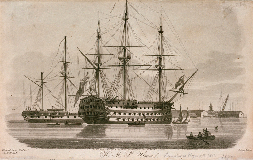 Detail of HMS 'Union' at anchor by Richard Speare