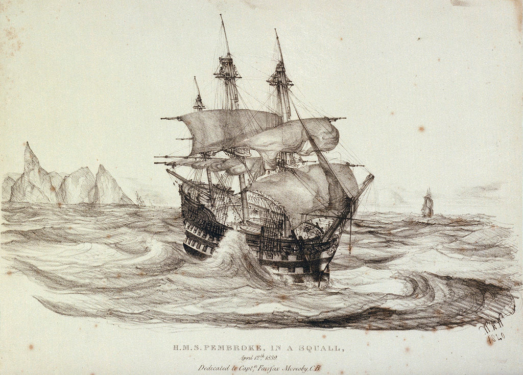 Detail of HMS 'Pembroke' in a squall, 12 April 1839 by W.H. Wardrop