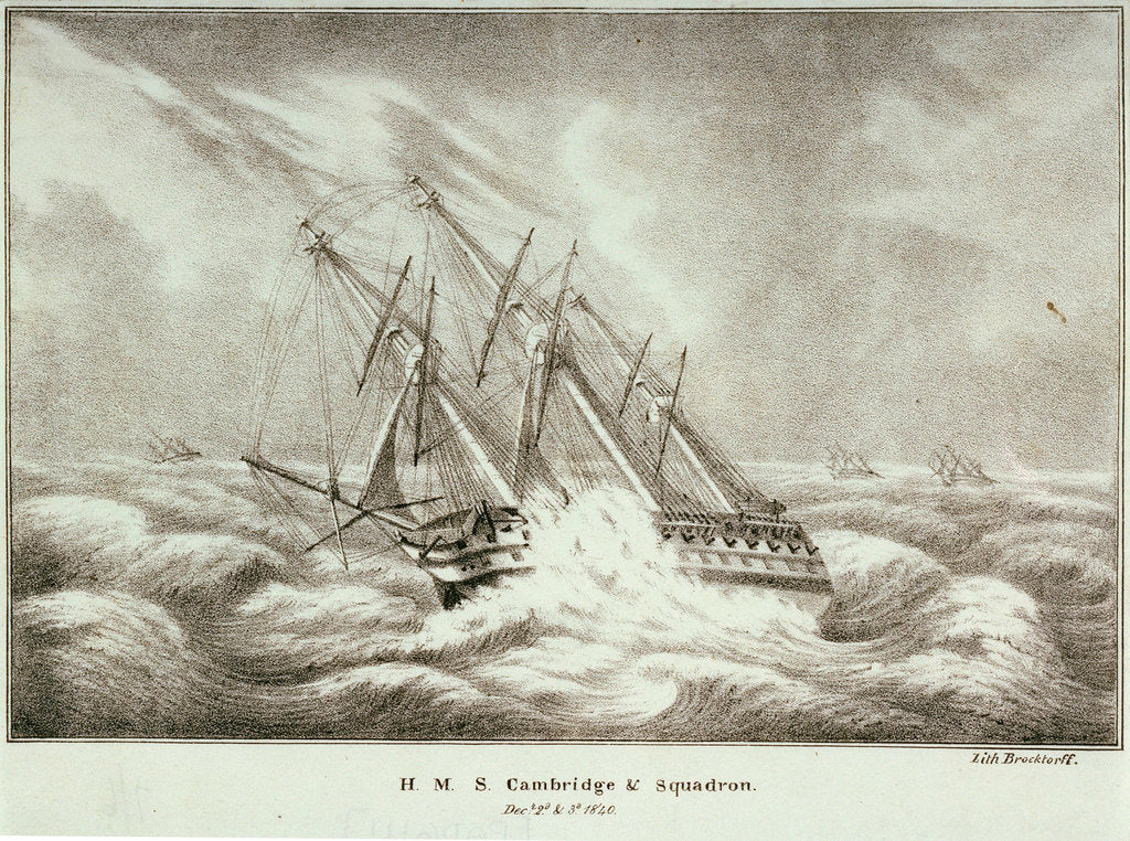 Detail of HMS 'Cambridge' and squadron, 2-3 December 1840 by Brocktorff