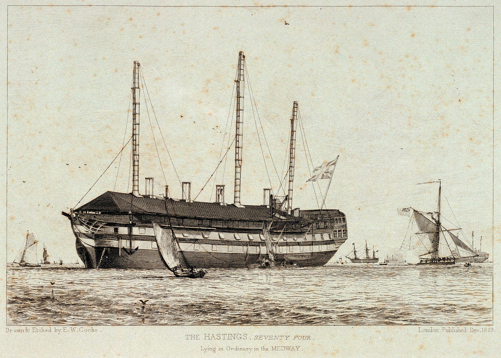 Detail of The 'Hastings' lying in the Medway by Edward William Cooke