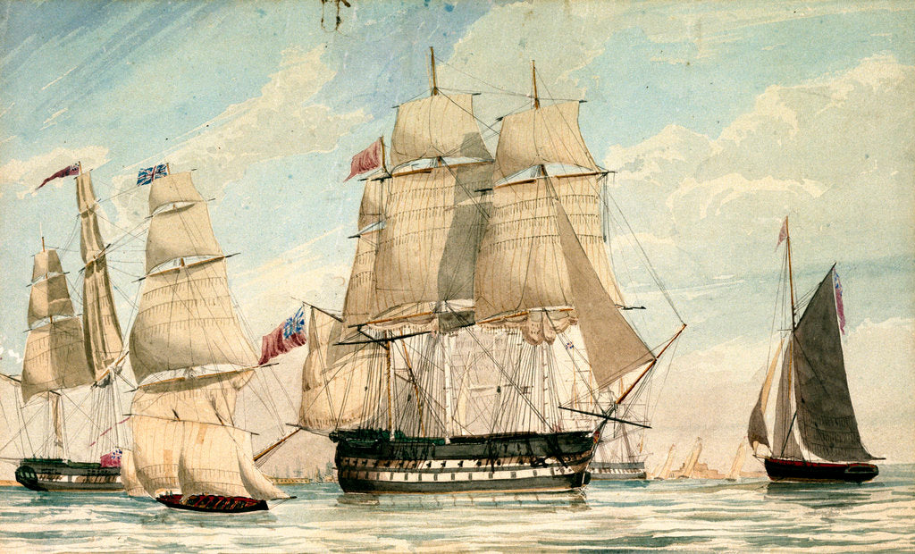 Detail of HMS 'Ganges' leaving Spithead on the 8 August 1826 by unknown