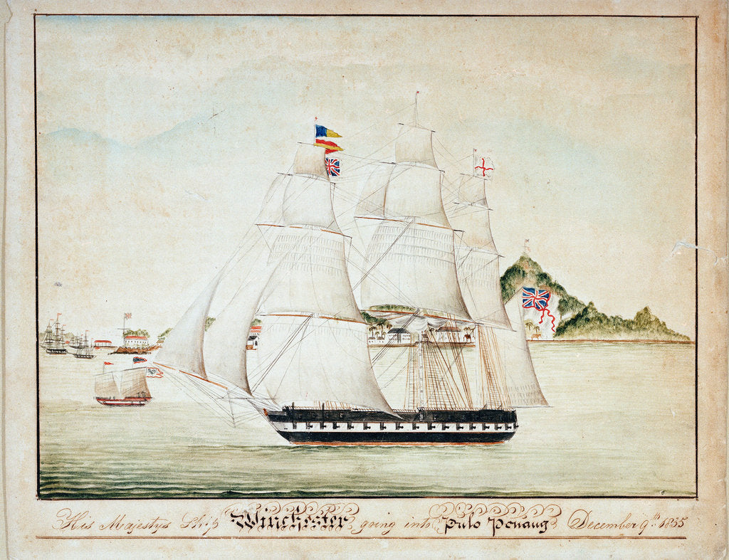 Detail of HMS 'Winchester' going into Pulo Penang, 9 December 1835 by unknown