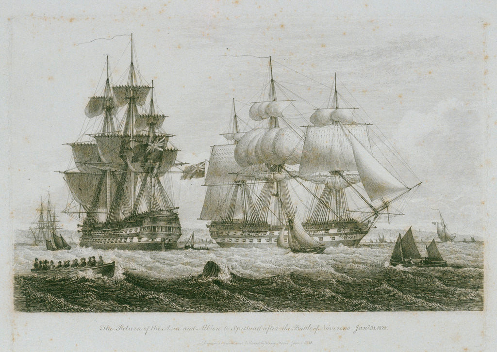 Detail of The return of the 'Asia' and 'Albion' to Spithead after the Battle of Navarino, 31 January 1828 by Henry Moses
