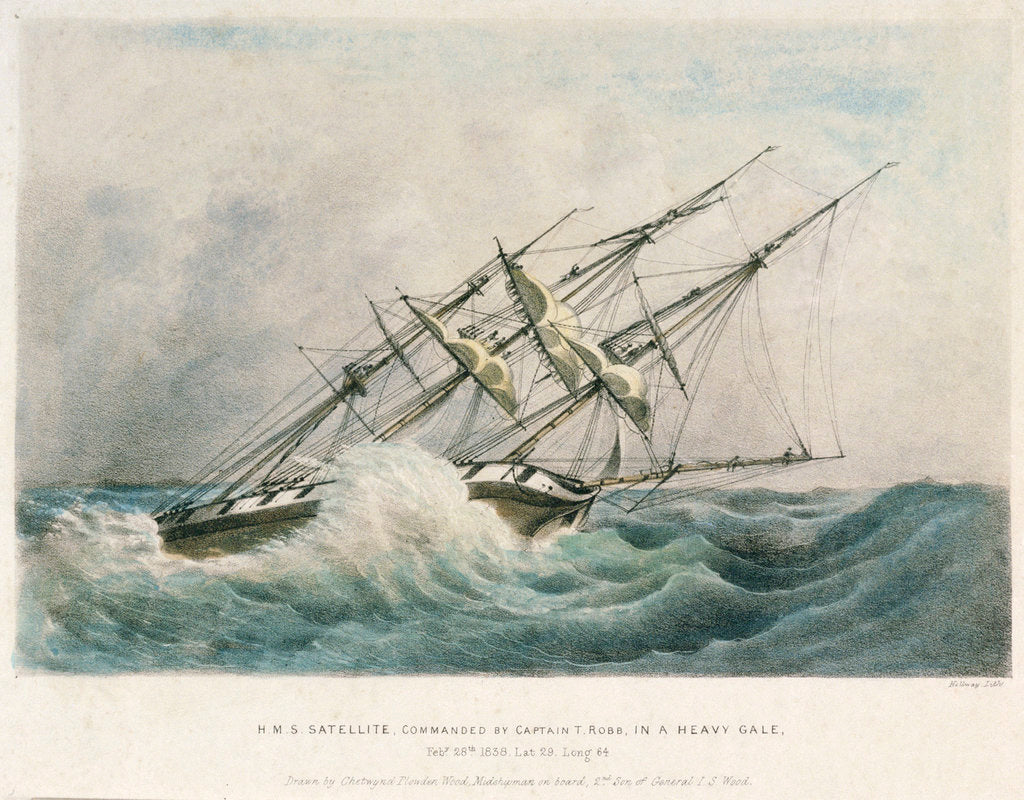Detail of HMS 'Satellite' in a heavy gale, 28 February 1838 by Chetwynd Plowden Wood